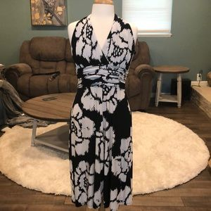 Evan Picone black and white floral dress size 8